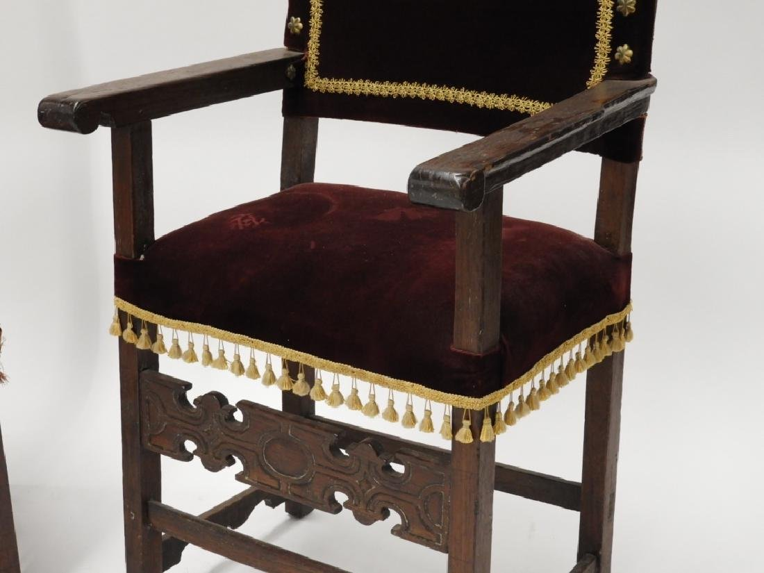 Near PR. Italian Renaissance Walnut Armchairs - 3