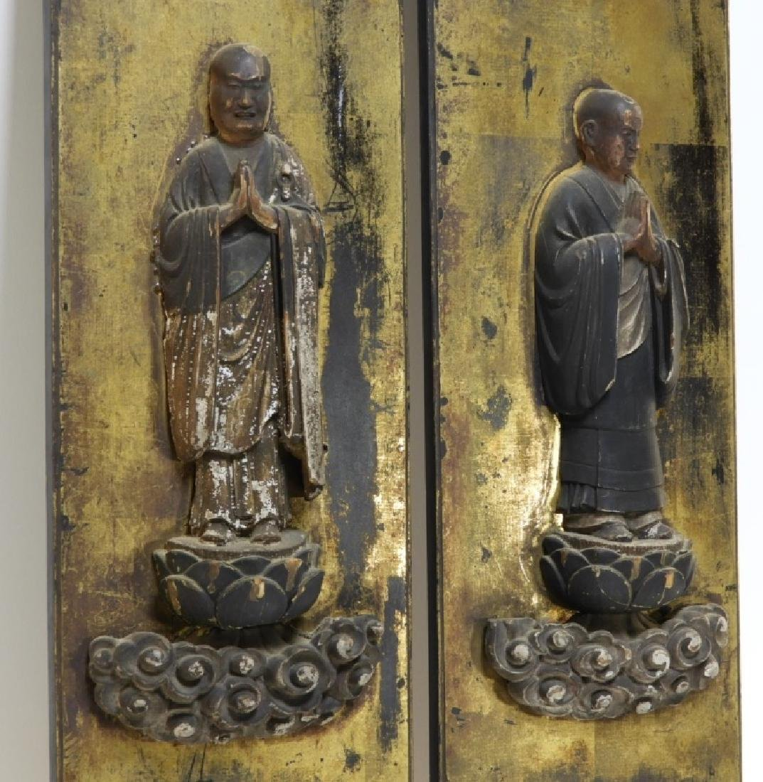 PR 19C Japanese Edo Period Gilt Wood Buddha Panels