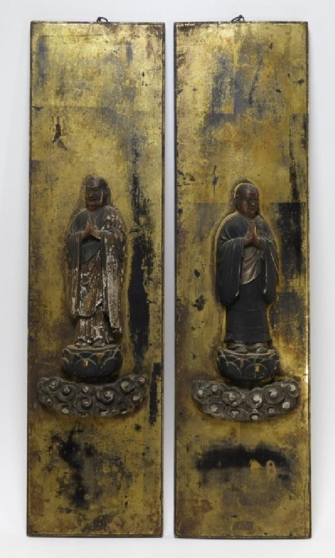 PR 19C Japanese Edo Period Gilt Wood Buddha Panels - 2