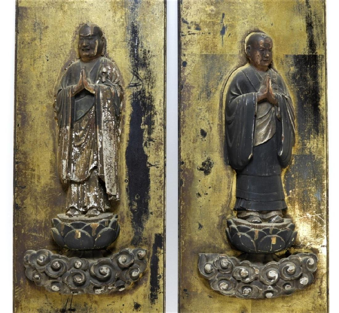 PR 19C Japanese Edo Period Gilt Wood Buddha Panels - 3