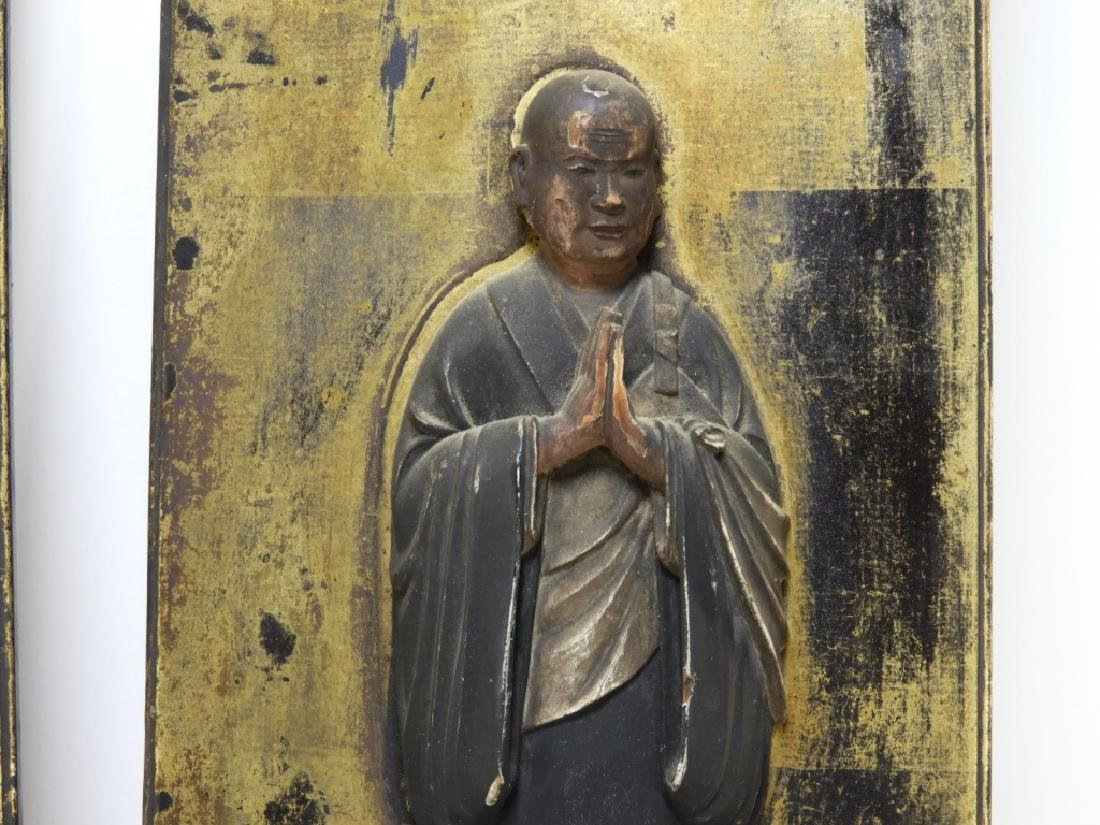 PR 19C Japanese Edo Period Gilt Wood Buddha Panels - 5