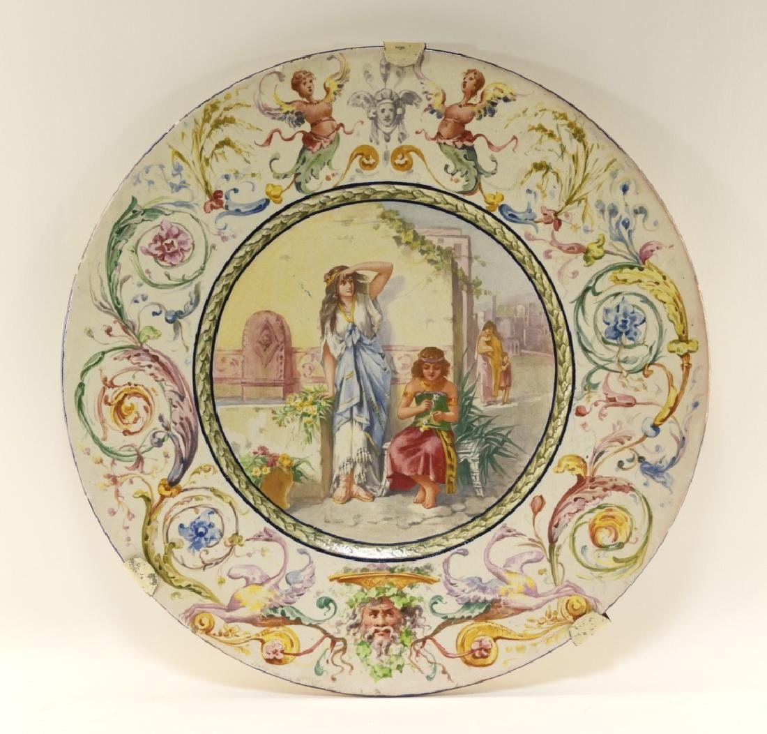 LG Italian Tin Glazed Faience Pottery Charger