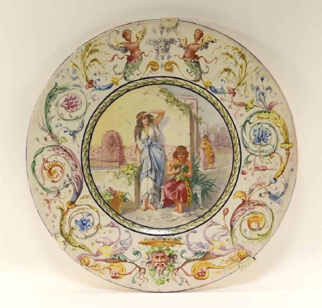 LG Italian Tin Glazed Faience Pottery Charger