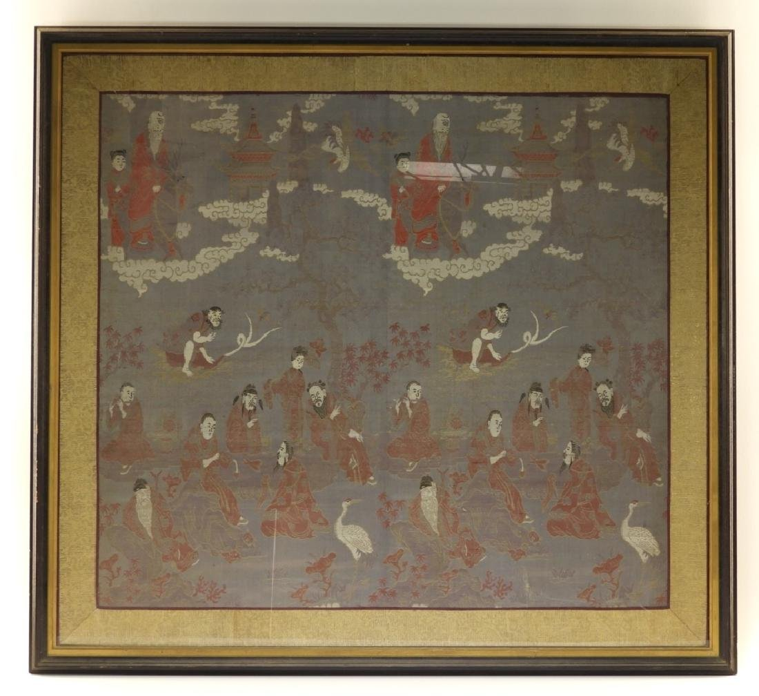 Chinese Silk Textile Panel of Immortals