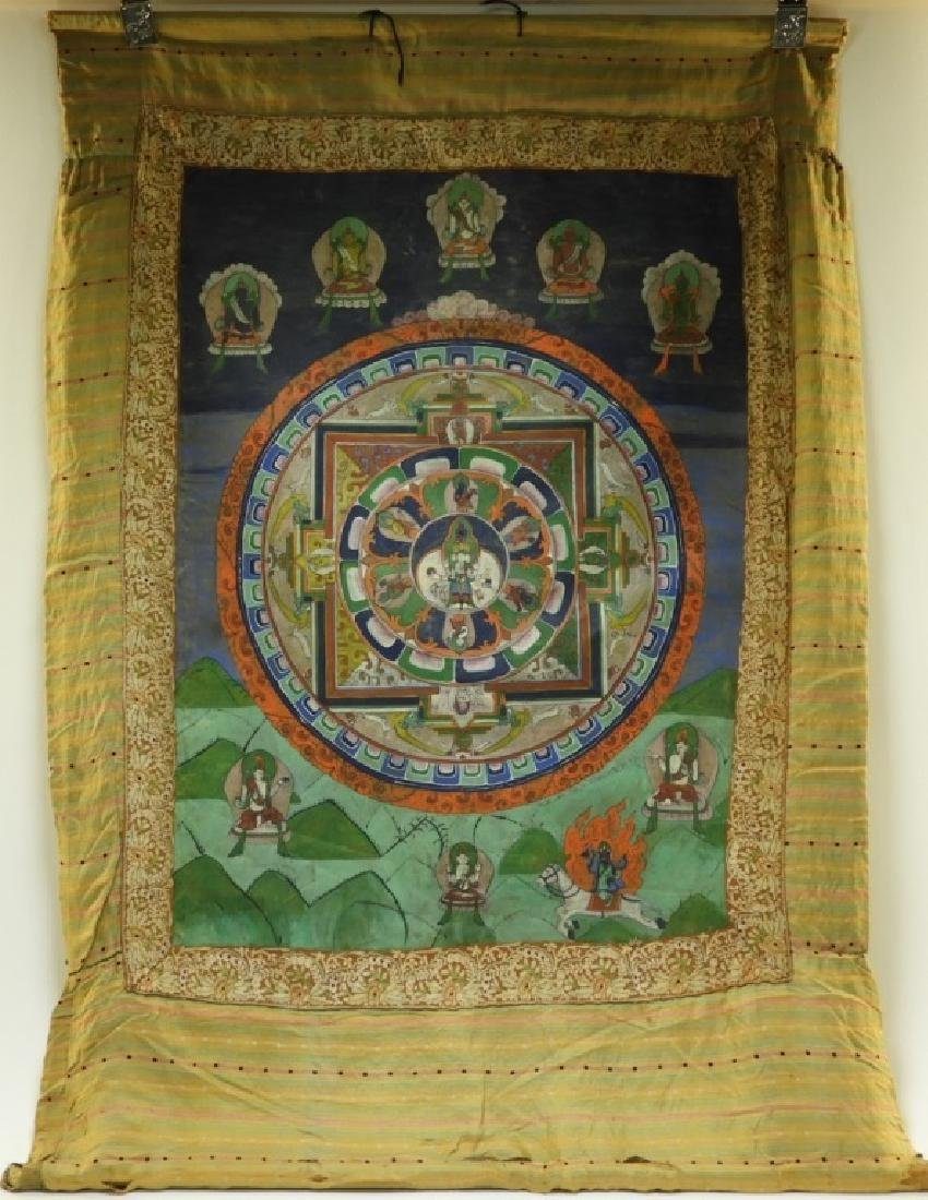 19C. Tibetan Deity Silk Thangka Tapestry Painting