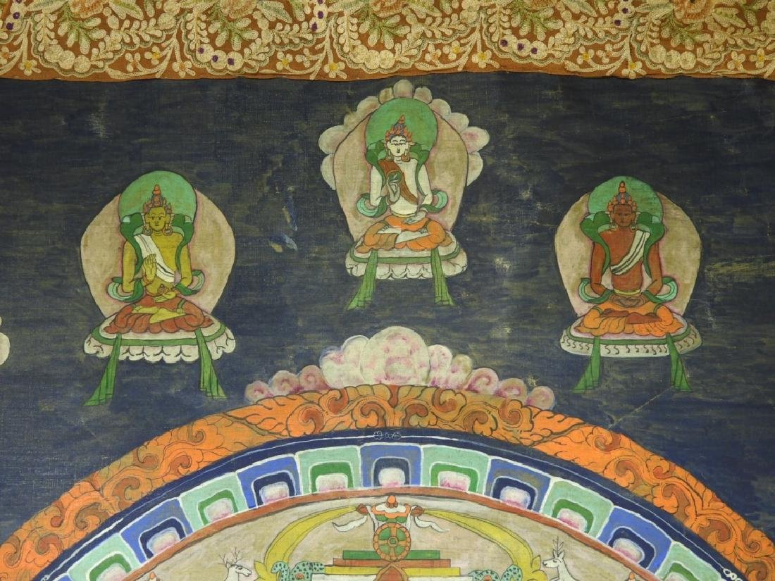 19C. Tibetan Deity Silk Thangka Tapestry Painting - 3