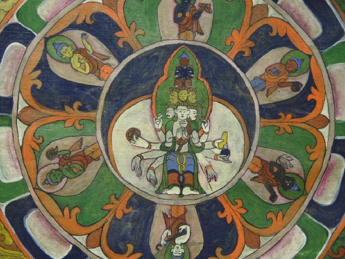 19C. Tibetan Deity Silk Thangka Tapestry Painting - 4