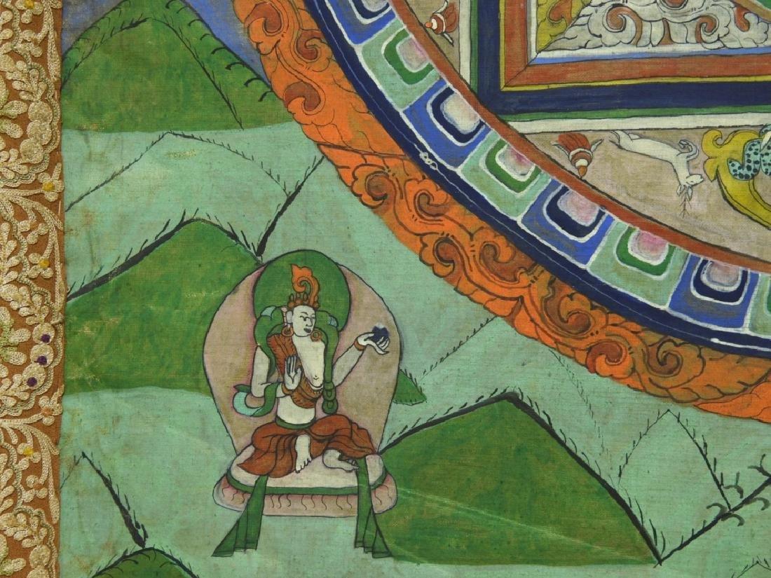 19C. Tibetan Deity Silk Thangka Tapestry Painting - 5