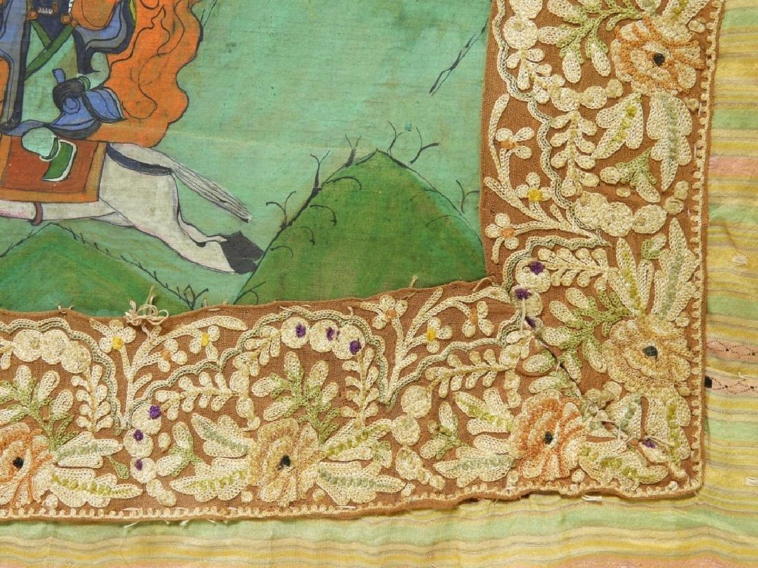 19C. Tibetan Deity Silk Thangka Tapestry Painting - 7