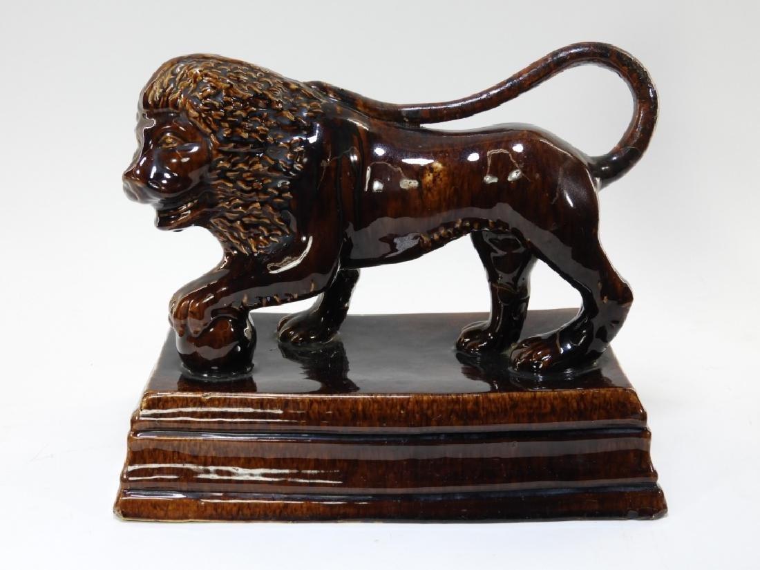 19C. English Rockingham Flint Enamel Pottery Lion