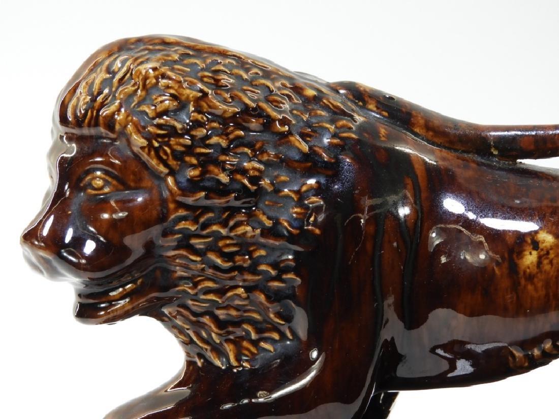 19C. English Rockingham Flint Enamel Pottery Lion - 2