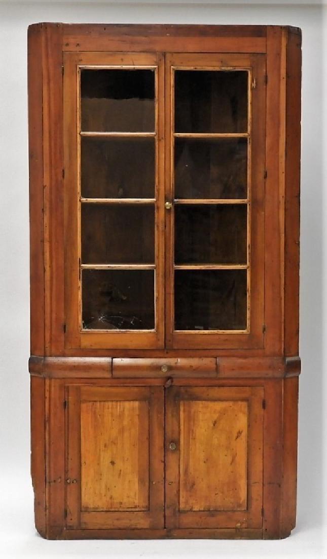 New England Pine Mullion Glass Door Corner Cabinet