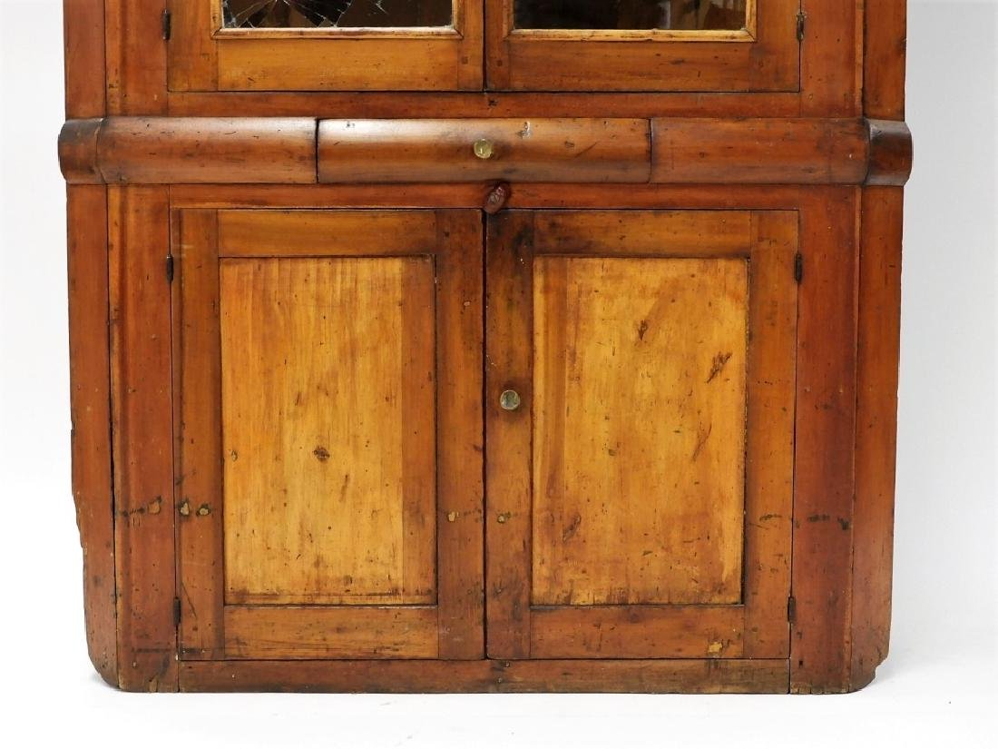 New England Pine Mullion Glass Door Corner Cabinet - 3
