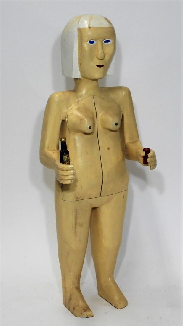 Bubby Moores Folk Art Nude Female Bar Sculpture