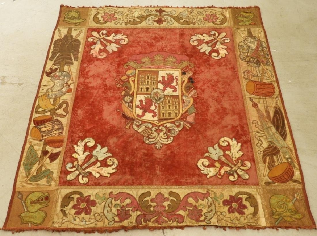 17C. Spanish Castile Leon Coat of Arms Tapestry