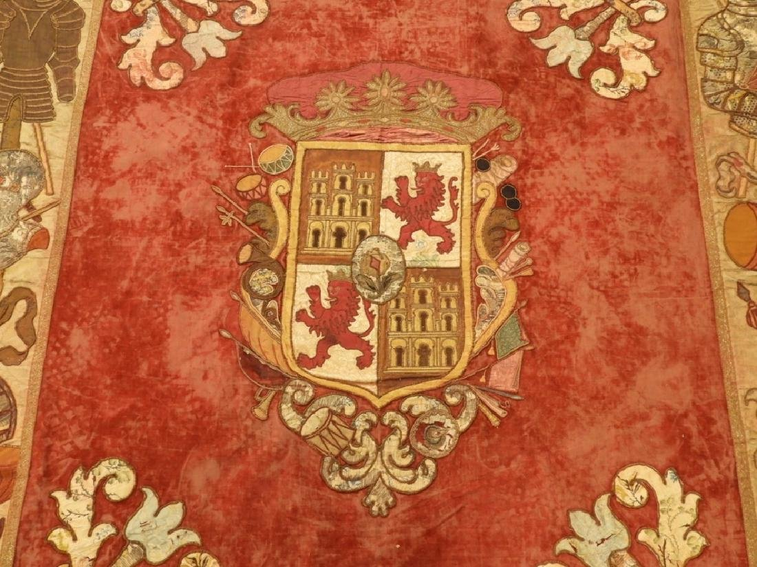 17C. Spanish Castile Leon Coat of Arms Tapestry - 2