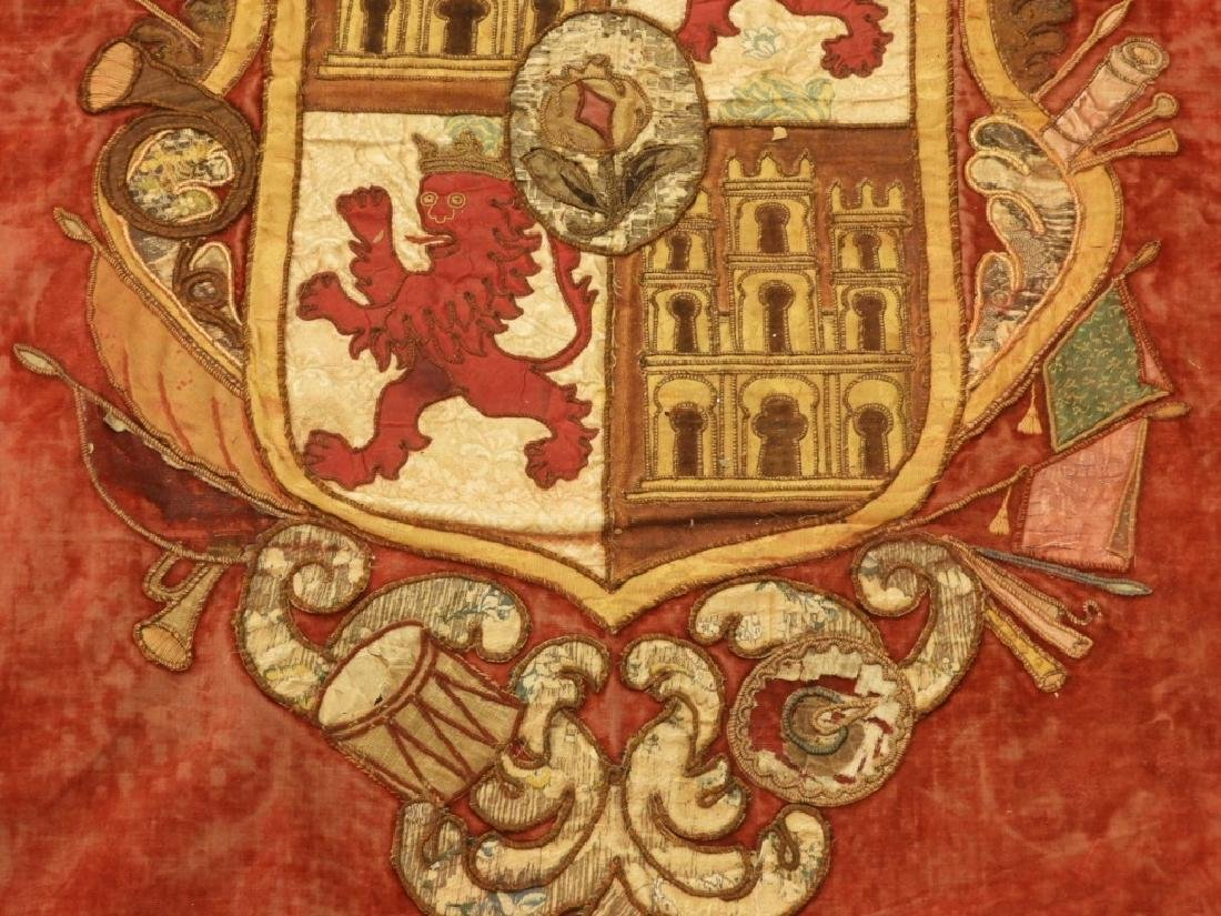17C. Spanish Castile Leon Coat of Arms Tapestry - 4