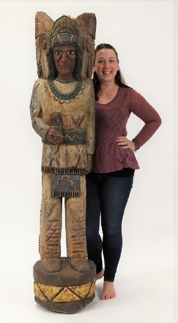 C.1950 American Folk Art Wood Cigar Store Indian