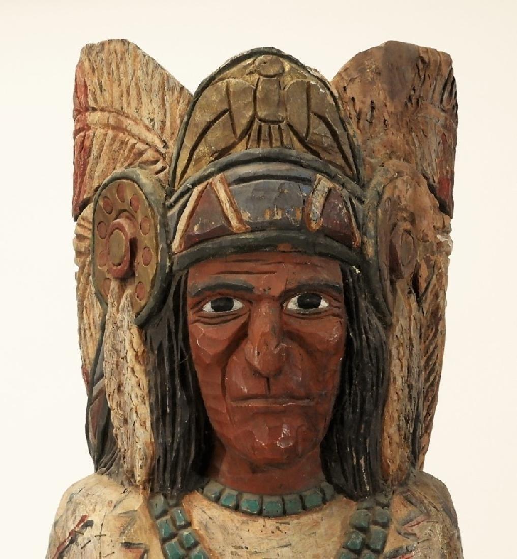 C.1950 American Folk Art Wood Cigar Store Indian - 2