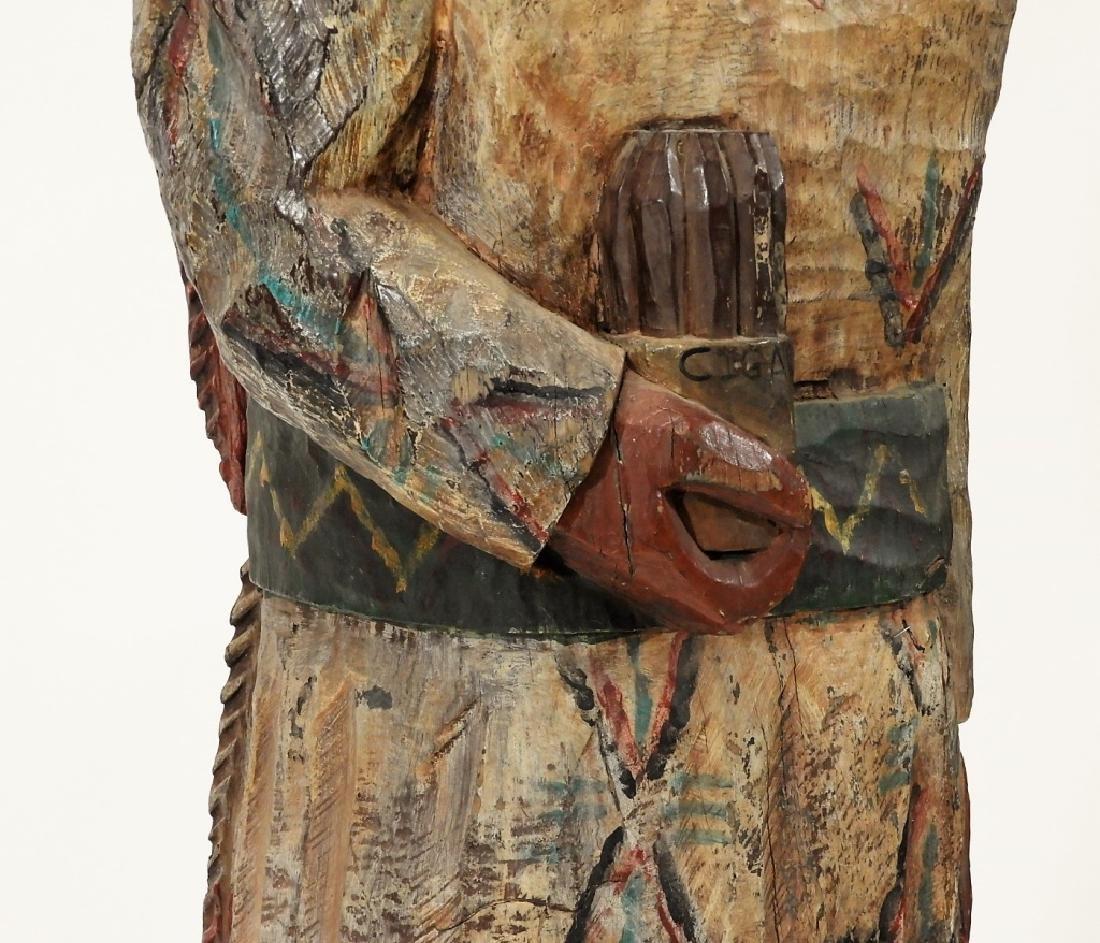 C.1950 American Folk Art Wood Cigar Store Indian - 4