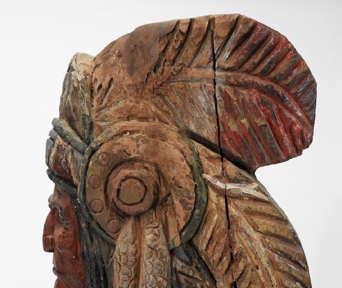 C.1950 American Folk Art Wood Cigar Store Indian - 9