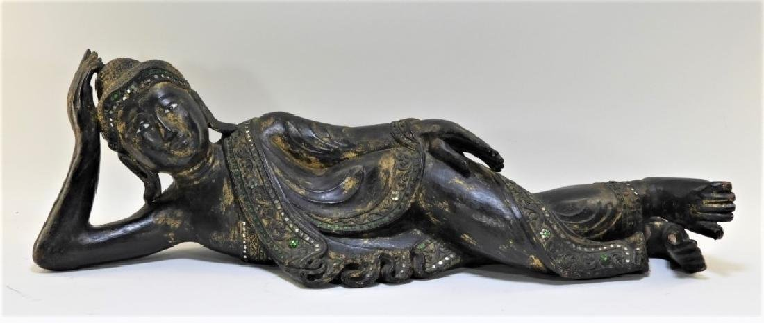 Thai Carved Wood Sculpture of a Reclining Female