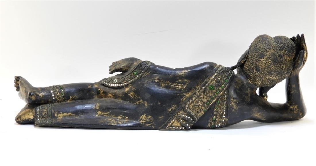 Thai Carved Wood Sculpture of a Reclining Female - 6