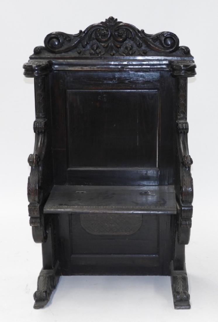 18C. Continental Renaissance Revival Hall Chair - 2