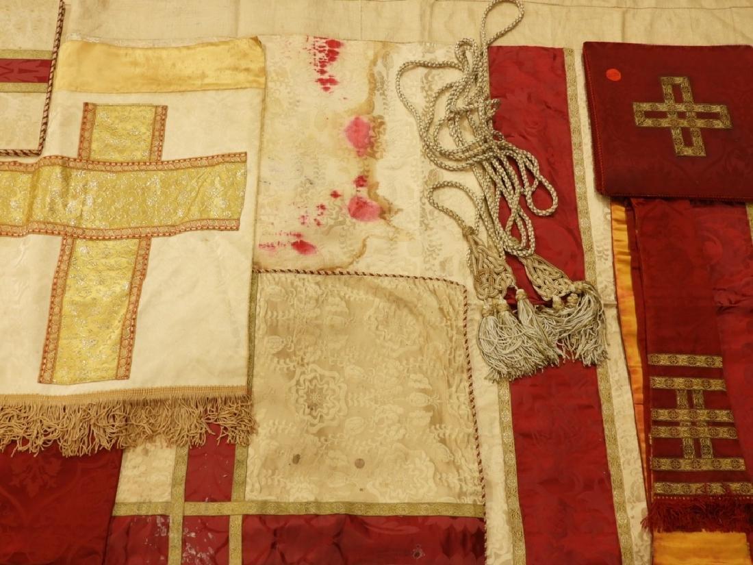 12PC. Maroon Gold Silk Vestment Set - 4