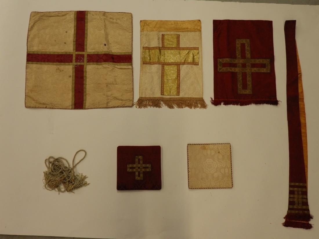 12PC. Maroon Gold Silk Vestment Set - 7