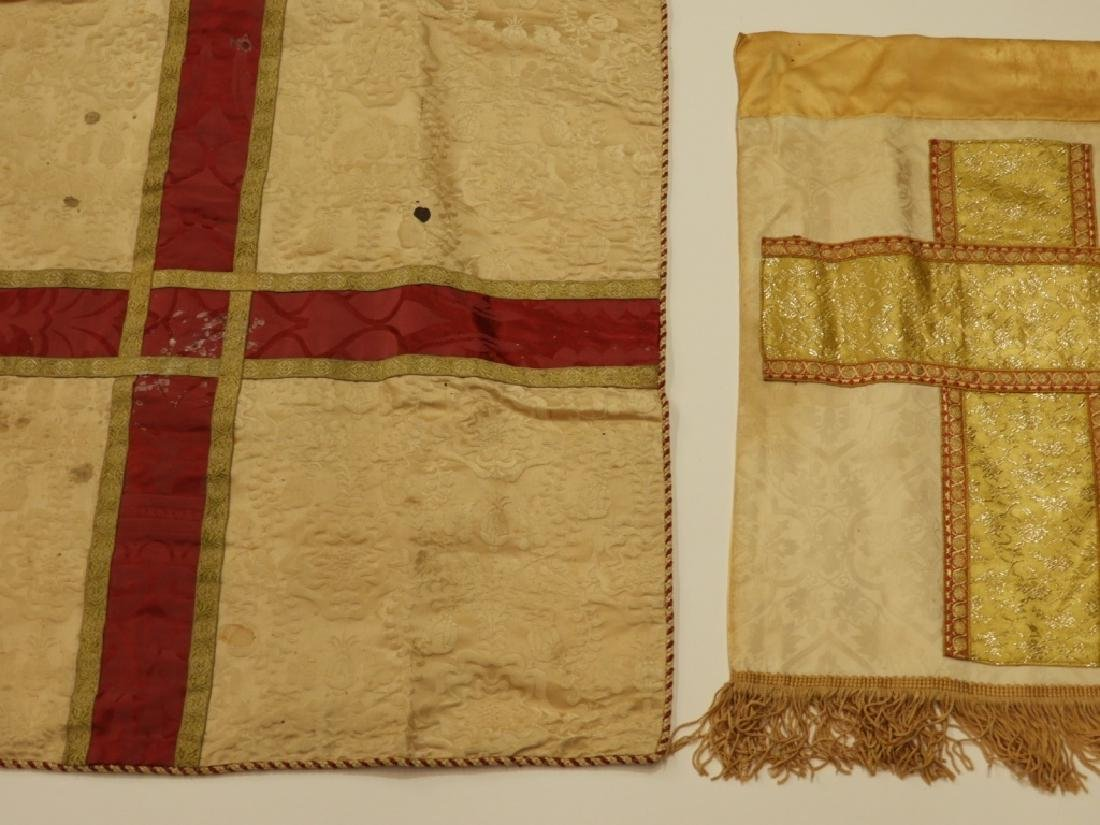 12PC. Maroon Gold Silk Vestment Set - 8