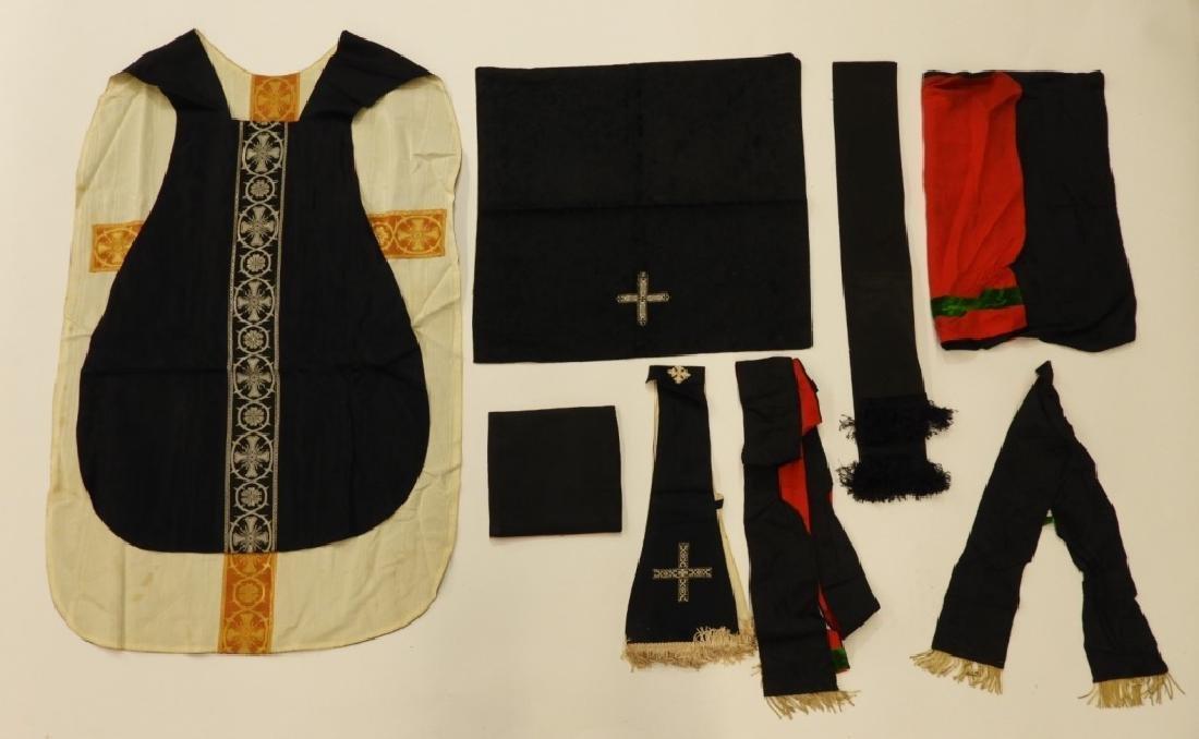 8PC. Black & Red Silk Vestment Set