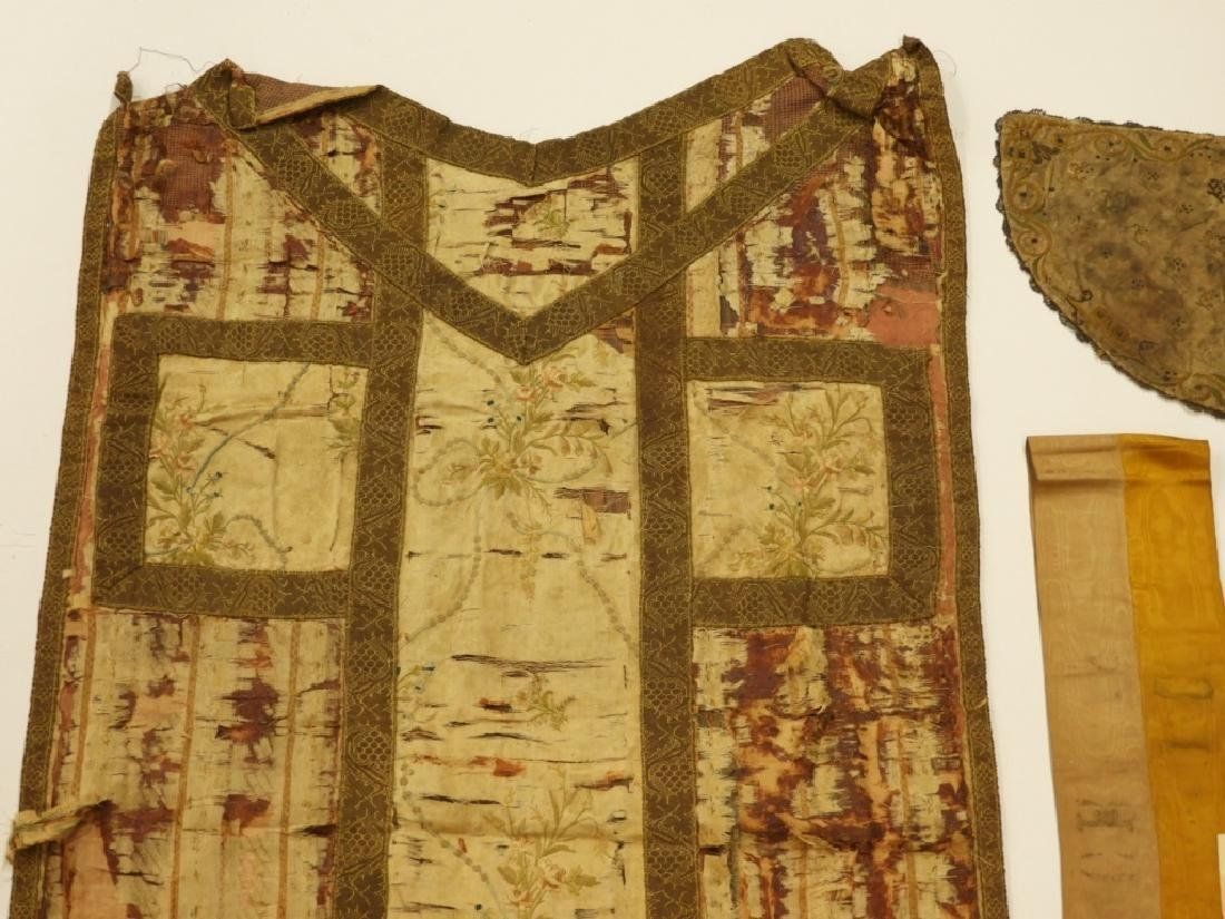 11PC. Mixed Antique Silk Brocade Vestment Group - 2