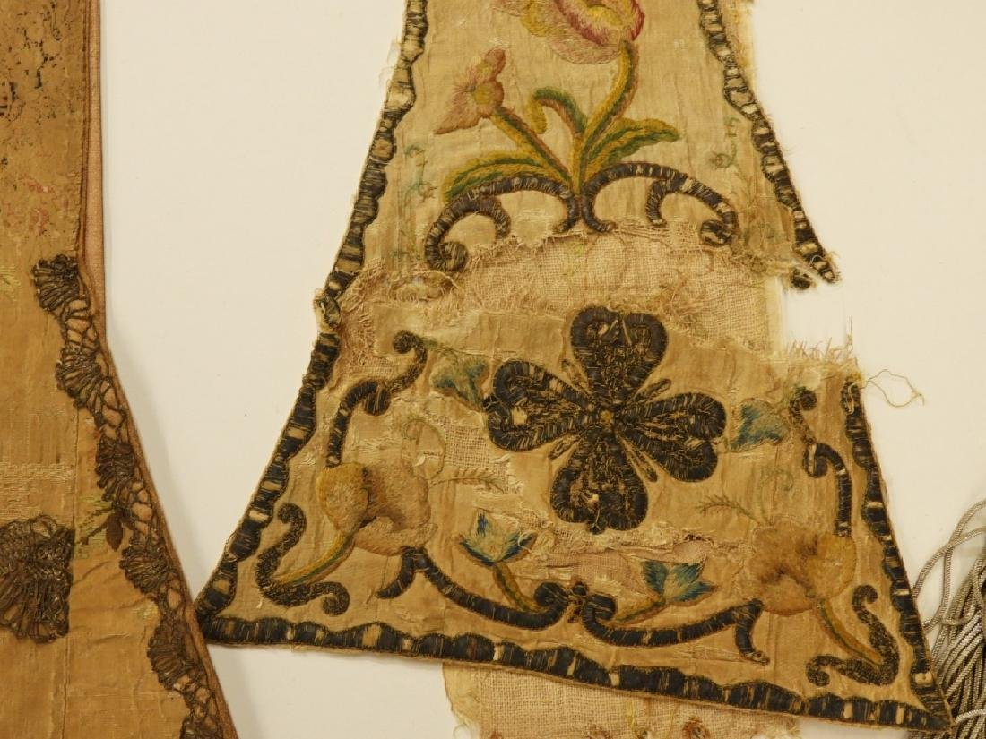 11PC. Mixed Antique Silk Brocade Vestment Group - 6