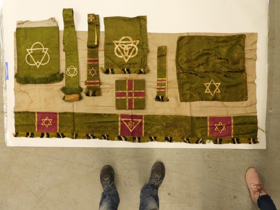 9PC. Catholic Green Silk Brocade Vestment Set