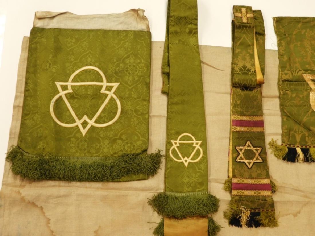 9PC. Catholic Green Silk Brocade Vestment Set - 2