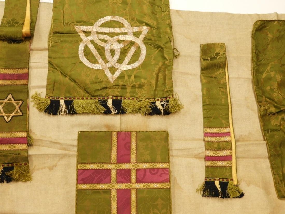 9PC. Catholic Green Silk Brocade Vestment Set - 3