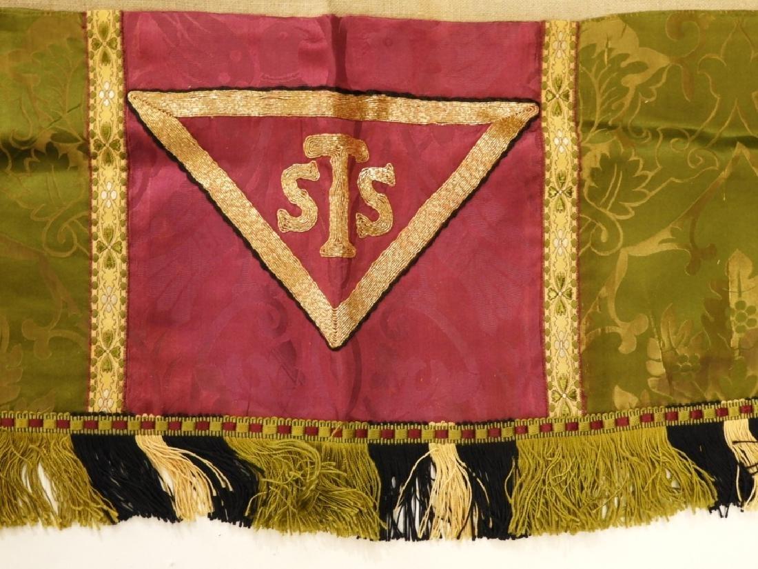 9PC. Catholic Green Silk Brocade Vestment Set - 4
