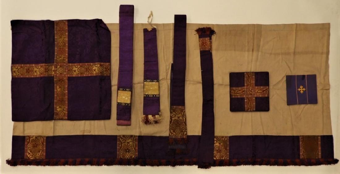 8PC. Purple Gold Silk Brocade Catholic Vestments