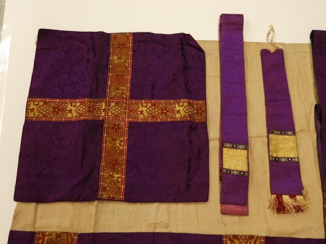 8PC. Purple Gold Silk Brocade Catholic Vestments - 2