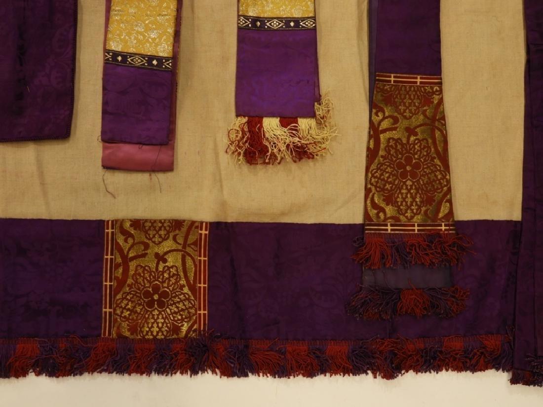 8PC. Purple Gold Silk Brocade Catholic Vestments - 3