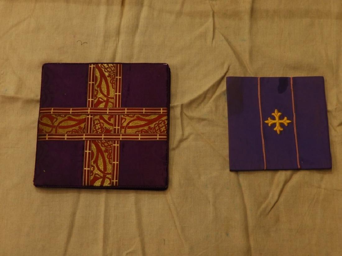 8PC. Purple Gold Silk Brocade Catholic Vestments - 4