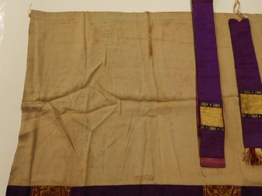 8PC. Purple Gold Silk Brocade Catholic Vestments - 5