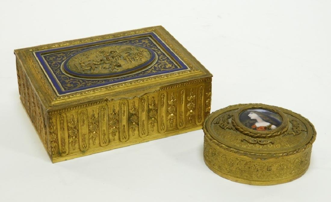 2 French Gilt Bronze Enamel Dresser Boxes