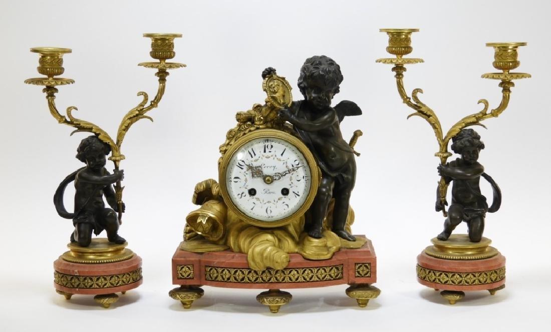 19C French Leroy Ormolu Bronze Clock Garniture Set