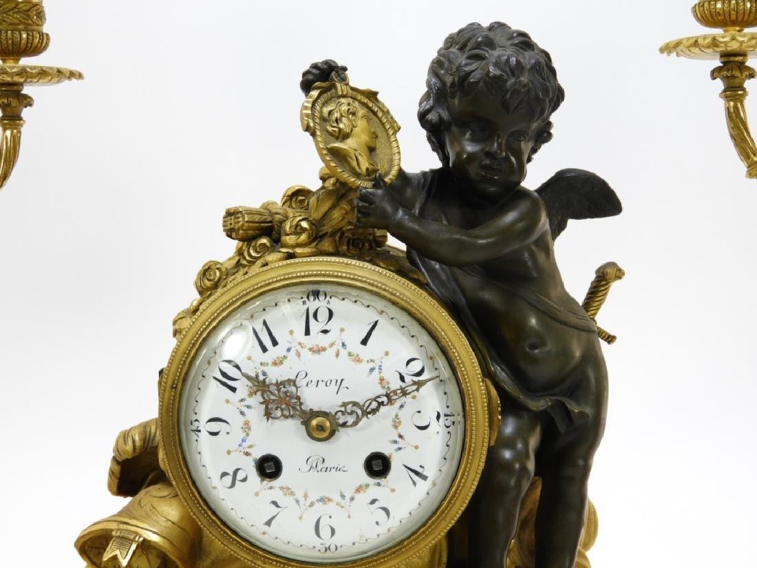 19C French Leroy Ormolu Bronze Clock Garniture Set - 2