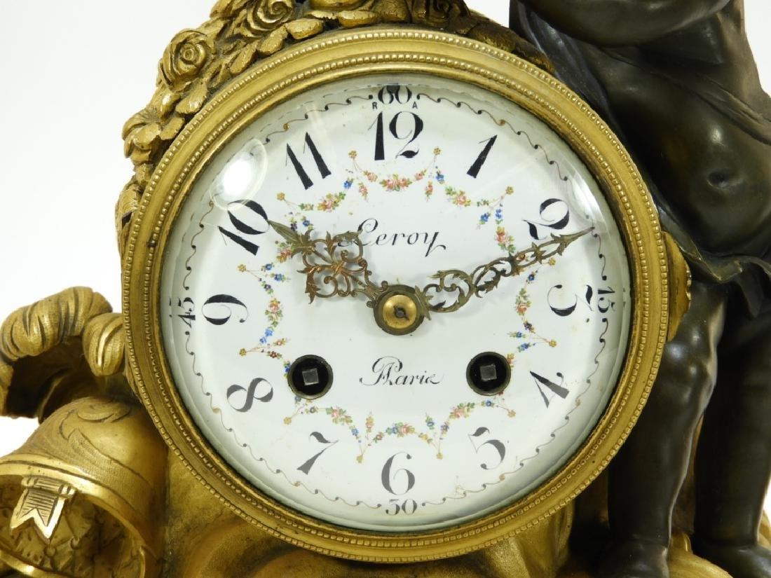 19C French Leroy Ormolu Bronze Clock Garniture Set - 3