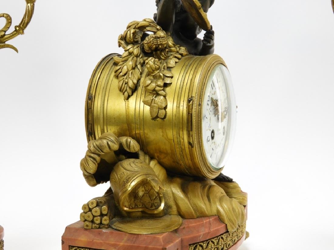 19C French Leroy Ormolu Bronze Clock Garniture Set - 7