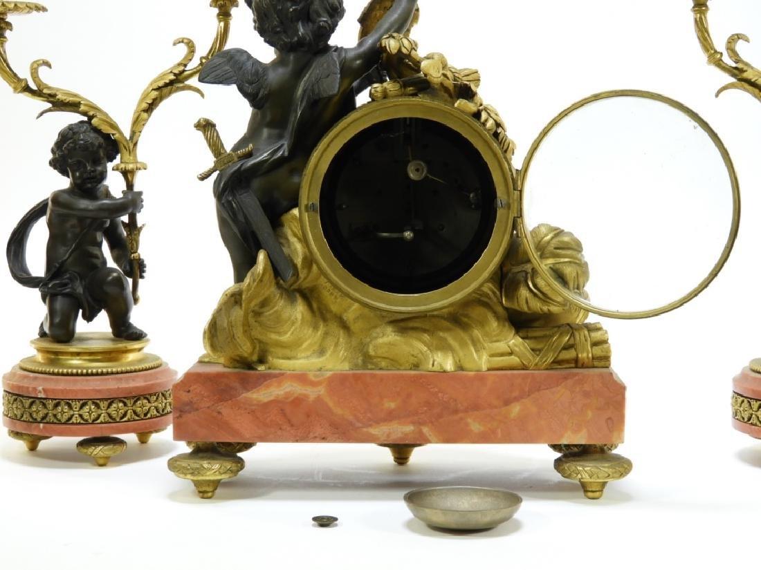 19C French Leroy Ormolu Bronze Clock Garniture Set - 8