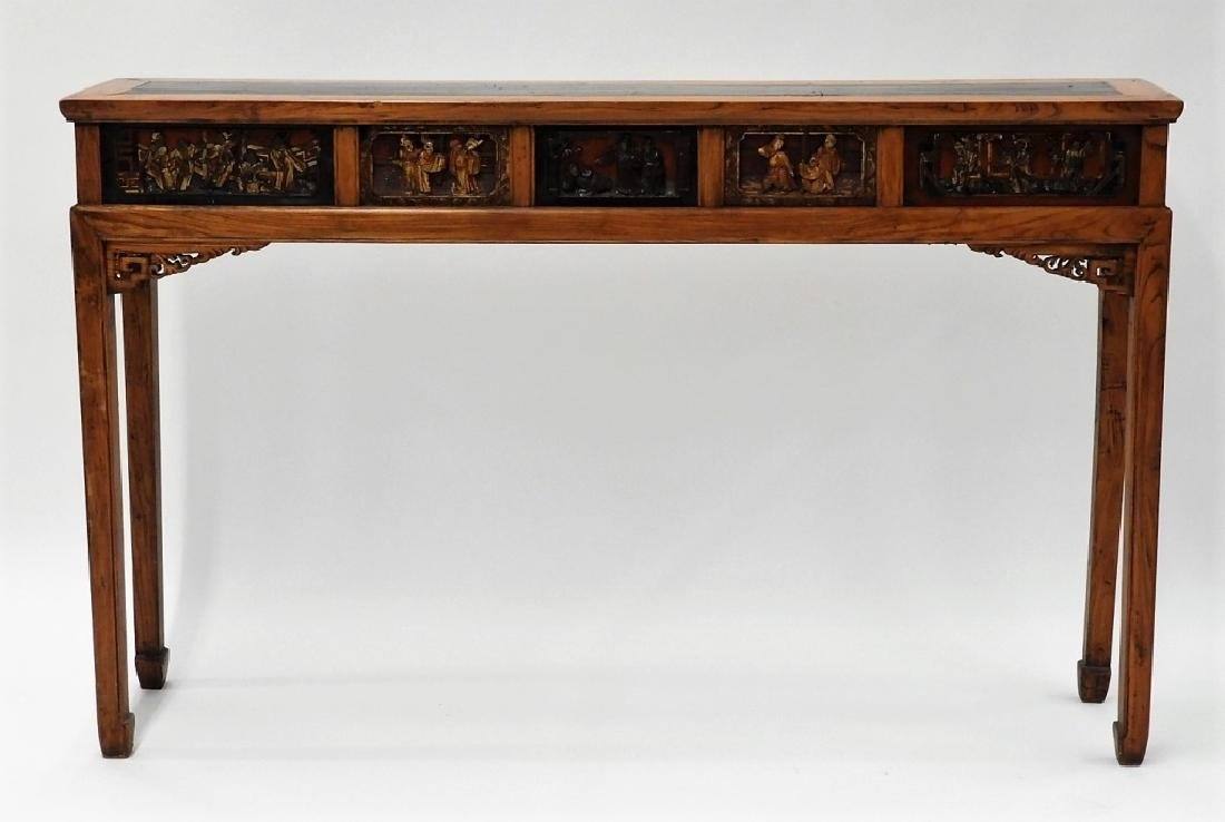 Chinese Carved Scenic Panel Hardwood Alter Table